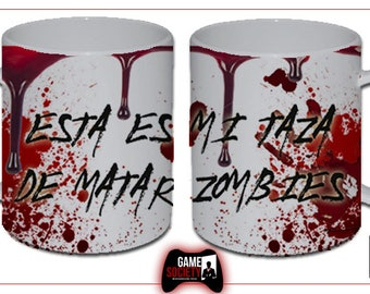 Exclusive kill zombies Cup Cup ceramic / / custom design Gamesocietyshop //The Kill zombies white ceramic mug for coffee