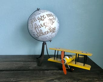 Wedding Guest Globe, 'You are my favorite adventure,' hand-painted made-to-order