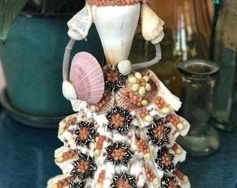 Vintage Seashell Art figurine | Seashell Art | Folk Art