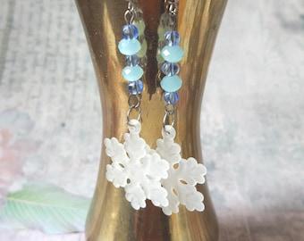 Lightweight long Snowflake earrings holiday festive Blue white snowflake  frozen christmas girl winter jewelry secret santa romantic gift