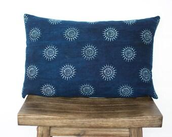 SALE! Indigo Sun Lumbar / Indigo Pillow/ Hemp Pillow Cover/ Authentic Indigo/ Handmade/ Vintage/ Bohemian Modern Pillow/ Lumbar Pillow