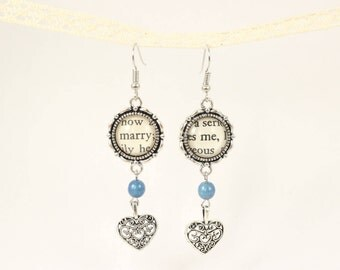 "Jane Austen (Pride and Prejudice) ""Marry Me"" Book Page Engagement Earrings - Literary Proposal - Jane Austen Engagement - Engagement Gift"