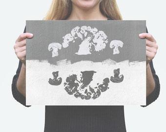 YING YANG BROCCOLI Digital Art Print, Printable, Instant Download pdf, Minimal Design, Minimalistic, Rough, Black & White Illustration