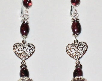 Garnet Earrings with Platinum heart