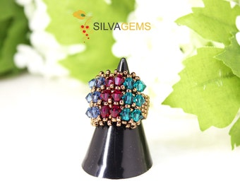 Red, Blue and Green Swarovski Crystals Handmade Band Ring. Beaded Ring for Her. Statement Ring. Sapphire, Ruby and Emerald Crystals Ring.
