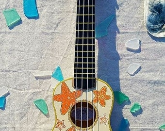 Hand Painted Ukulele. Starfish