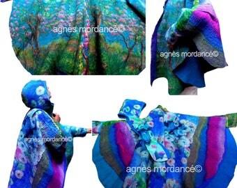 "Cape reversible Textile Art & hood ""Flip side"" - felted silk Merino - OOAK"