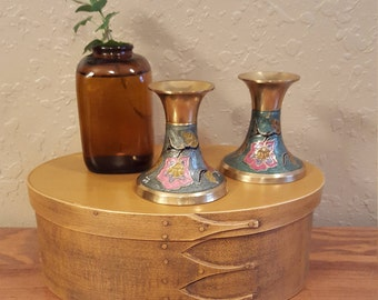 "Vintage brass 3""x3"" cloisonne candlesticks.  Short vintage floral cloisonne candlesticks.  pink, red, gold and light teal."
