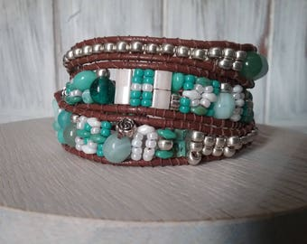 Wrap bracelet 3 laps leather