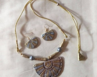 Silver,Gold and Bronz necklace with matching earrings-Indian jewelry-terracotta jewelry-polymer clay jewelry