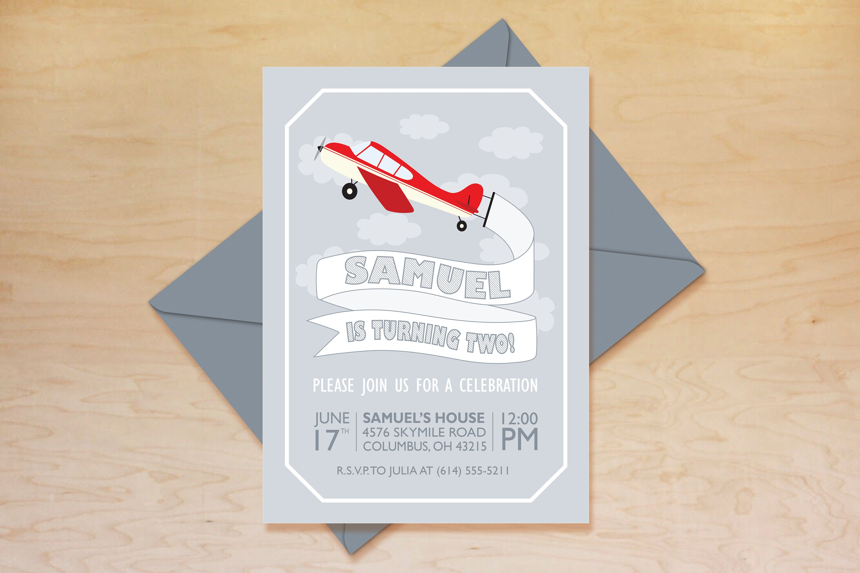Airplane Birthday Invitation, Airplane Invitation, Plane Birthday ...
