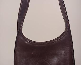 Authentic Dark Brown Leather Coach Shoulder Purse