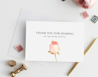 Printable 5x7 Thank You for sharing our special day Wedding Card | To My The Ring Bearer Wedding Card | Wedding Thank You Card