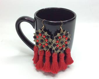 Red Tassel Earring, Swarovski  Earrings, Statement Earrings, Tassel Earrings