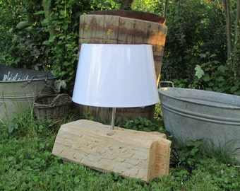 Rustic House Table lamp-old timber-