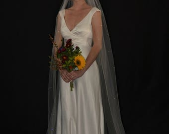 "108"" Swarovski Crystals Scattered Extra Fullness Cathedral Veil with Cut Edge"