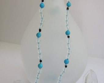 Matte Crystal-Turquoise-Wood Wrap Necklace - Genuine Gemstones & Pure Silk Thread