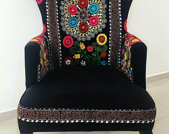 Beautiful Suzani And Velvet Victorian Armchair. Vintage Chairs. Accent  Chairs. Living Room Chairs