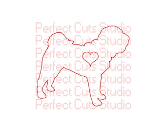Shar Pei Love SVG & Studio 3 Cut File - Shar-Pei - Dog - for Cricut Silhouette Decal Logo Heart Files Pet Stencils Downloads Cutouts SVGs