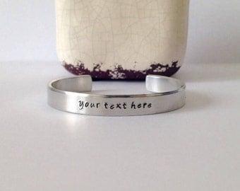 Hand Stamped Bracelet, Custom bracelet,Inspirational gift, Handmade, Jewelry with text, Sieraden met tekst,Valentine's Day Gift