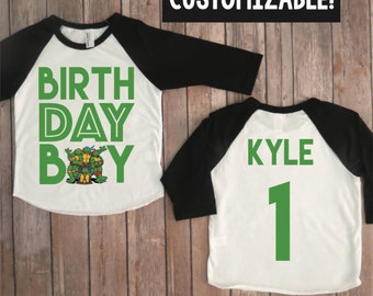 Ninja turtles birthday boy shirt, TMNT shirt, TMNT birthday, teenage mutant ninja turtles, custom TMNT raglan, turtles party, boys birthday