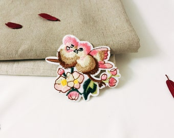 pink birds-couple patch-iron on patch-embroidered patch -patch for jacket-DIY-applique-girl patch