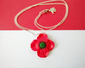 The poppies-necklace with a fimo/handmade polymer clay poppy Pendant