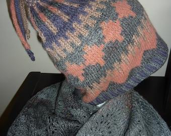 Fair Isle Hat, hand knitted.  wool