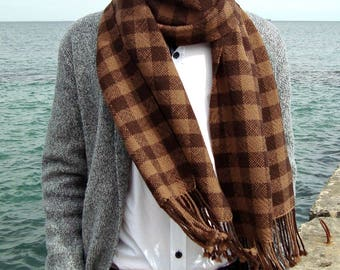 Handwoven merino wool plaid scarf Long woolen hand woven scarf Chocolate brown scarf men  Handmade women winter soft scarf Woven scarf