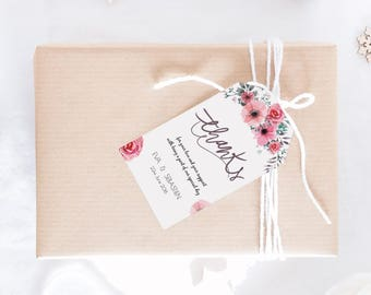 Pink Roses Personalized Wedding Favors Tags Printable (Size M), Wedding Tags Template, Watercolor gift tags, Editable Wedding favors Tags