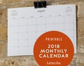 2018 Printable Monthly Calendar | Minimalist Wall Year Planner, Mon & Sun Start, A5 A4 A3 A2 A1 A0, US Letter Size Small Medium Large Poster