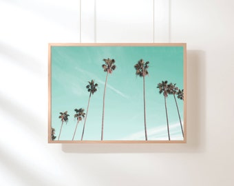 Palm Trees Printable, Palm Trees Art Print, Tropical Wall Art, California Print, Palm Tree Photography, Nature Art, Large Pastel Art Print
