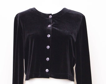 Vintage Velvet Jacket with Rhinestone buttons. really soft
