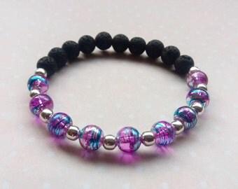 Essential Oil Diffuser Bracelet, Lava Stone and Purple Drawbench Drizzle Glass Stretch Bracelet