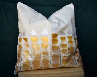 Stained Gold | Hand Painted Muslin Cover | Decorative Pillow Sham | 16 x 16 | Made to Order