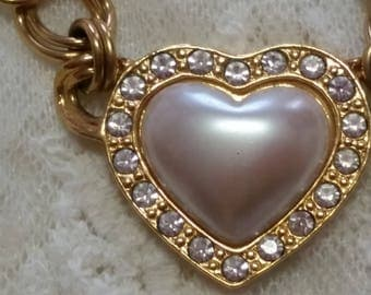 Avon Heart of My Heart Faux Pearl and Rhinestone 18 Inch Necklace - Vintage
