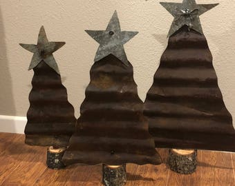 Rusty Tin Christmas trees, set of 3
