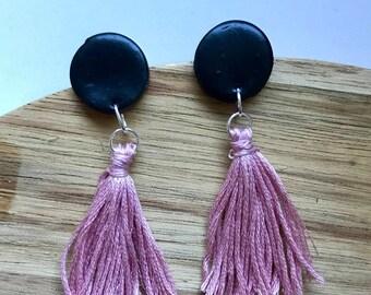 Black + dusty pink tassel earrings