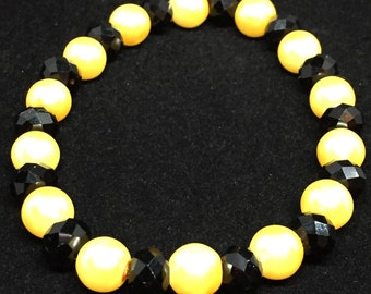 Black and Yellow Crystal Beaded Bracelet