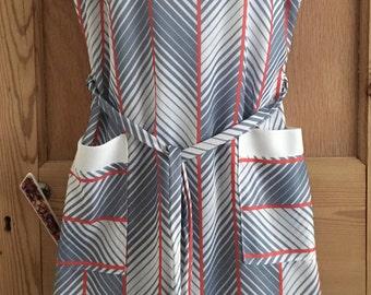 Vintage Diagonal Striped Pinafore Dress Size 14