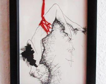 Shibari Hand Embroidered Art