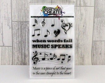 Music notes & quotes A6 clear photopolymer stamps