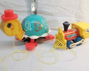 Vintage Fisher Price Tip Toe Turtle #773 & Toot-Toot Engine #643 ~ Child's Pull Toys, Wood Train - Working Sounds