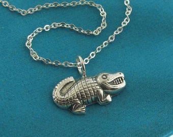 Happy Little Alligator sterling silver charm necklace by Kathryn Riechert