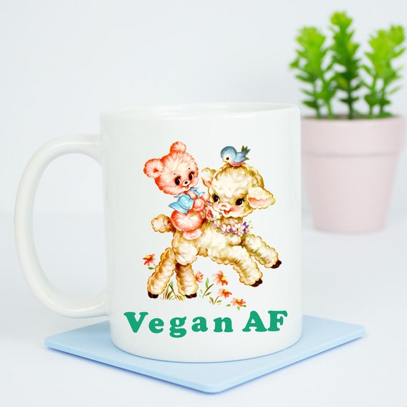 Vegan AF mug, happy vegan coffee mug