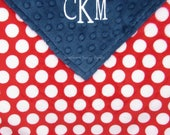 Blanket with Name, Baby Blanket, Monogrammed Baby Blanket, Gender Neutral Gifts, Red White Navy Blue Minky Blanket, Embroidery Optional