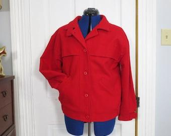 Vintage Women's Woolrich Jacket Red Wool Winter Coat Size Medium M Lined