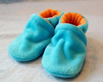 Turquoise and Orange: Soft Sole Baby Shoes 3-6M