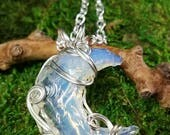 Opalite Pendant - Crescent Moon Pendant - Crescent Pendant - Silver Wire Wrapped Pendant - Hand Wrapped Pendant - Gift for Fairy Lover