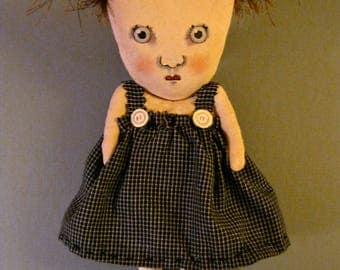 sweet little art doll , sandy mastroni, calico dress,reddish brown hair , whimsical wall art ,shelf art,